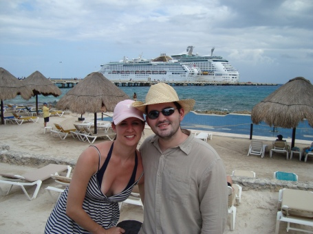 In Costa Maya. Our ship is the big one in the background. The water was pretty choppy that week, I can't imagine how bad it would have been on the smaller ship!