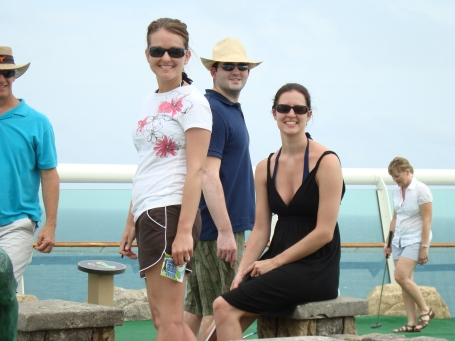 Laura, Stephen, and I during our mini-golf game. Jim, this is on the ship. See, cruises are awesome!