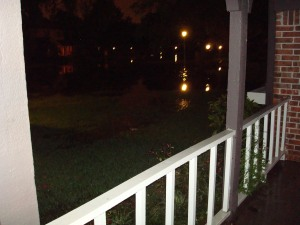 All of the reflections should tell you that the enitre street is under water. About 3/4 of the yard was too.