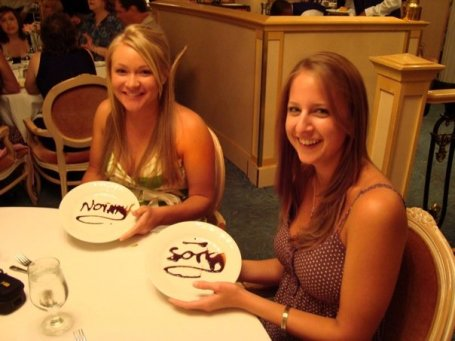 "Lauren's says ""No Way"" - Lindsay's says ""Sorry"" At least it's written in chocolate!"