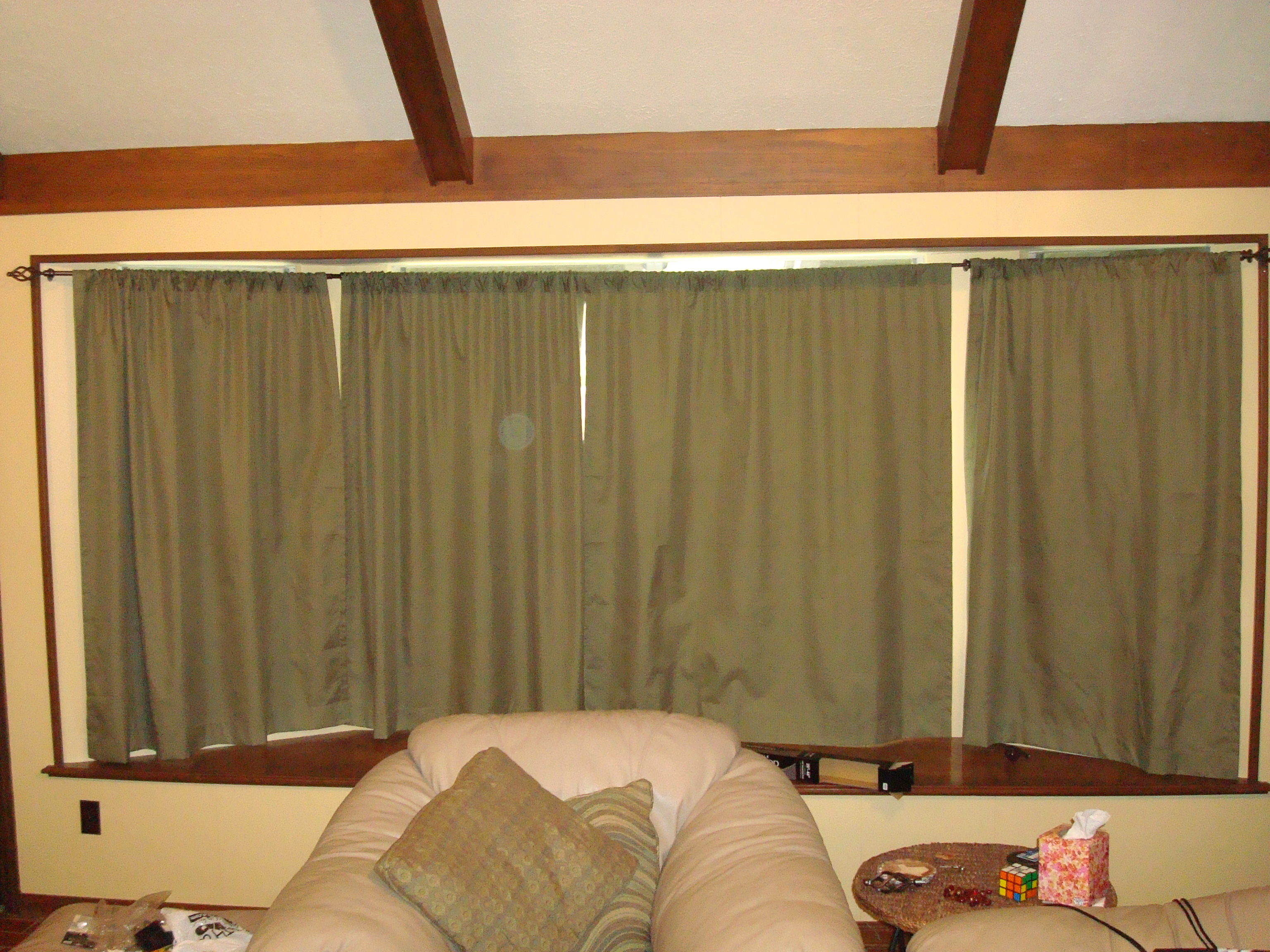 hurst castle not a big fan it s just a lot of green fabric hanging there i do however like the way it looks with the curtains open